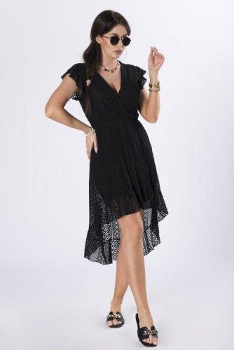koronkowa sukienka z wydłużonym tyłem