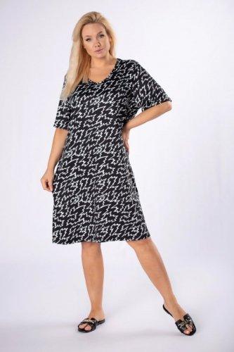 satynowa sukienka z printem