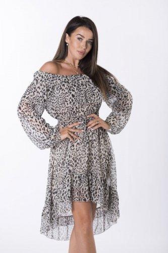 szyfonowa sukienka z hiszpańskim dekoltem
