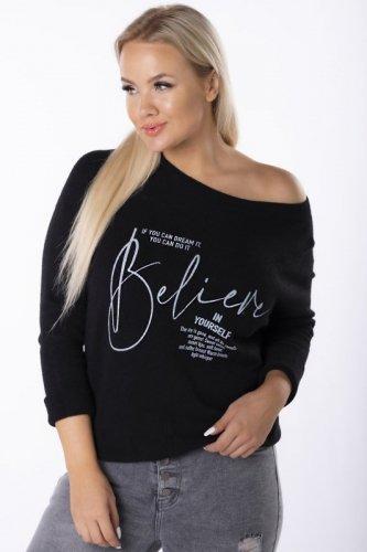 Sweter z kontrastowym napisem