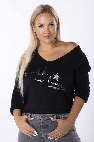 oversize'owy sweter z błyszczącymi napisami