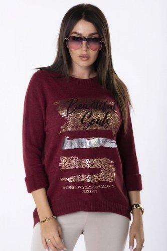 casualowy sweter z ozdobnym printem