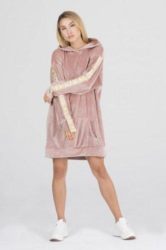 welurowa sukienka z lampasami