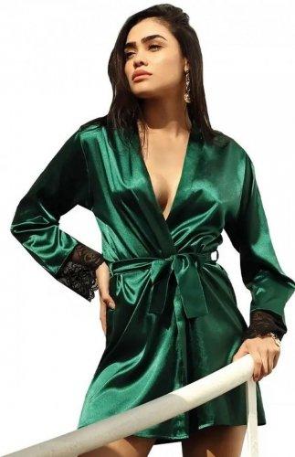 Szlafrok satynowy zielony DKaren Hailey