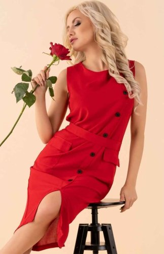 Elegancka sukienka czerwona Eqalisa