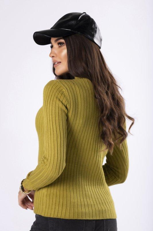 prążkowany sweter ze stójką