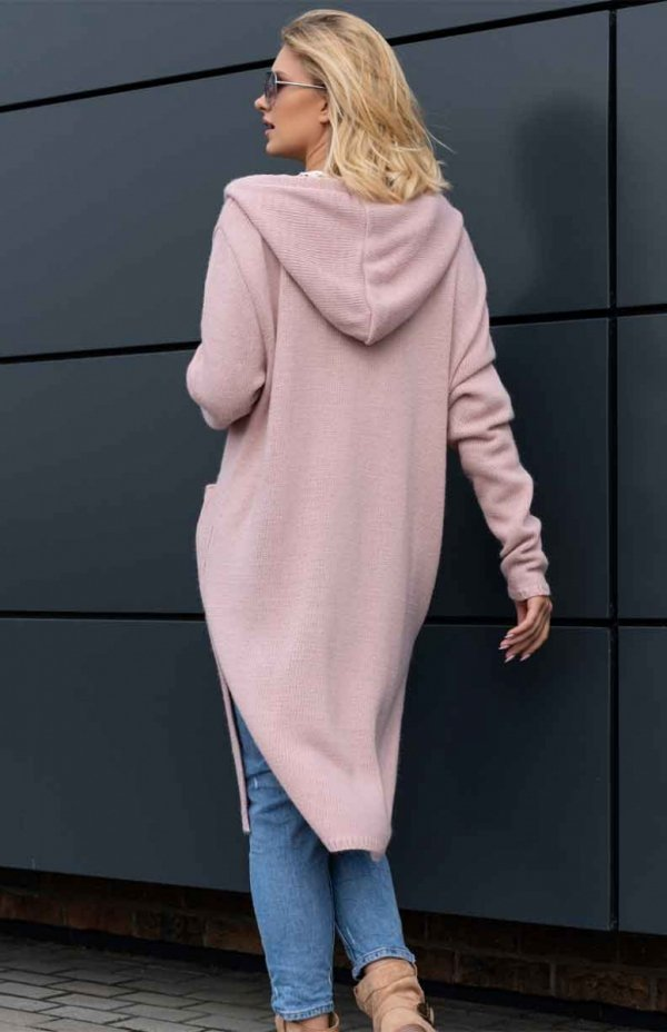 długi sweter kardigan z kapturem różowy
