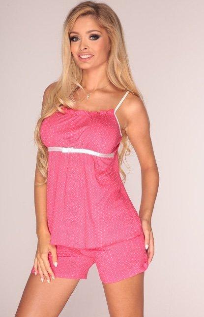 piżama damska de lafense kropki 915 malina