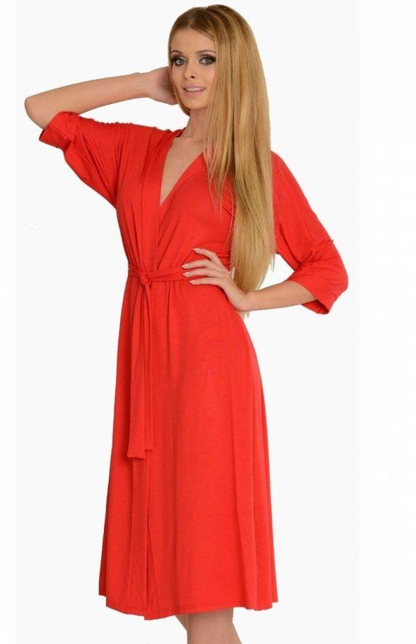 długi szlafrok damski z wiskozy de lafense 940 czerwony
