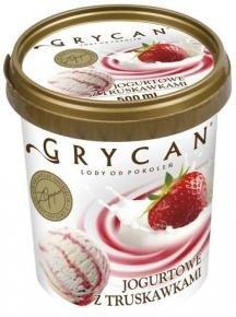 9219 Lody GRYCAN jogurtowe z truskawkami 500ml 1x6