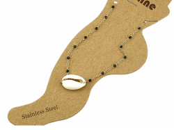 GOLD BRACELET ON THE FOOT, STAINLESS STEEL