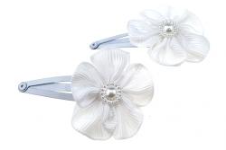 1092f 2x spinka klamra do włosów biały kwiatuszek