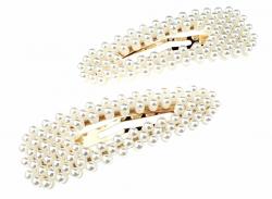 1441 Trójkątna 1x spinka z białymi perłami
