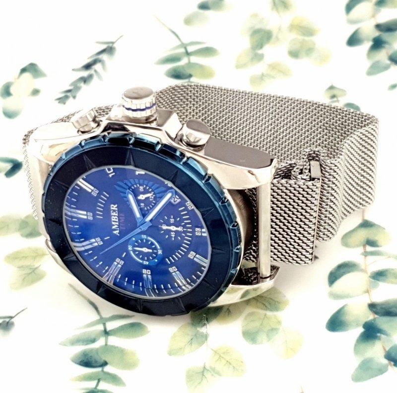 2677 Zegarek męski Amber Time elegancki klasyk srebrny  stal chirurgiczna