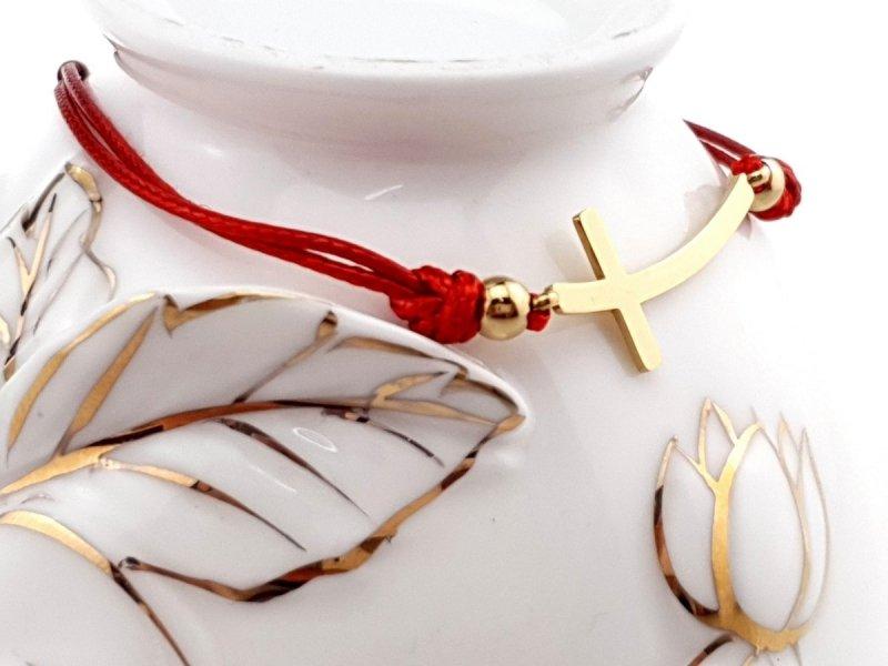 1043 Bransoletka złota celebrytka stal sznurek chirurgiczna