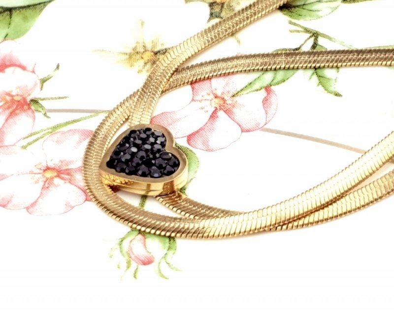 3371 Złoty łańcuszek celebrytka 48cm naszyjnik stal chirurgiczna