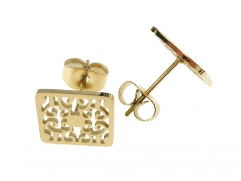 1714  Kolczyki celebrytki złote stal chirurgiczna