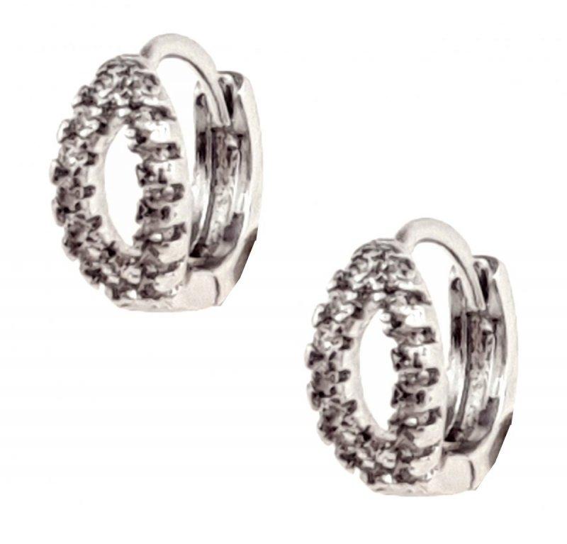 916 Ekskluzywne kolczyki srebrne cyrkonie  pozłacane