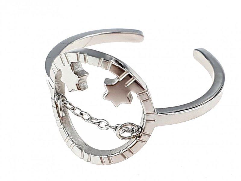 sz08 Pierścionek 18,30mm srebrny stal chirurgiczna