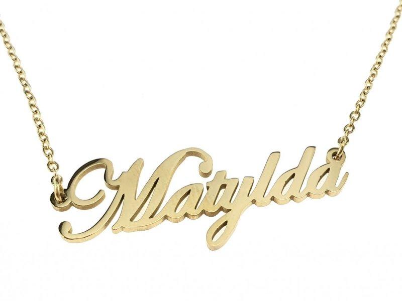 1442 Złoty łańcuszek celebrytka Matylda naszyjnik stal chirurgiczna