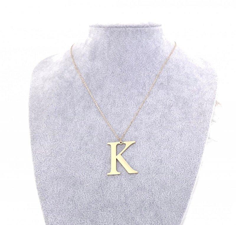 2564 Złoty łańcuszek celebrytka naszyjnik literka K stal chirurgiczna