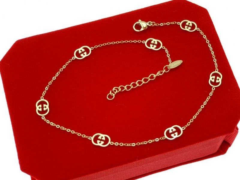 687 Bransoletka złota celebrytka na nogę stal chirurgiczna Blueberry