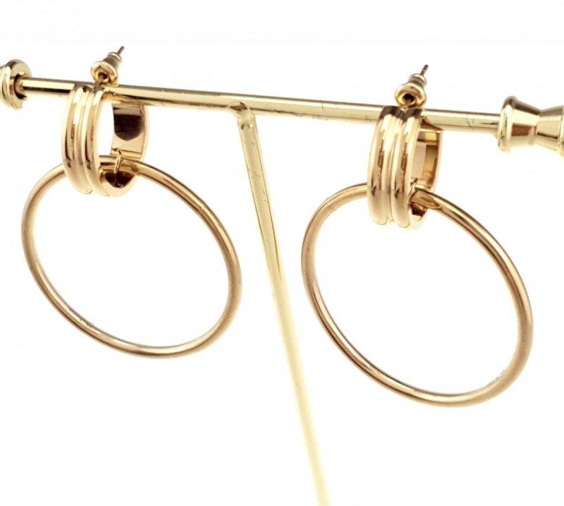 1057 Kolczyki celebrytki złote stal chirurgiczna Blueberry