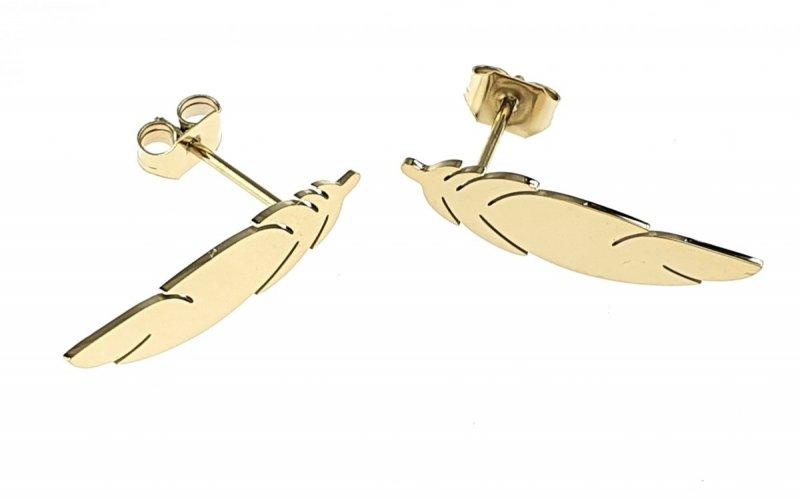 1341 Kolczyki celebrytki złote stal chirurgiczna
