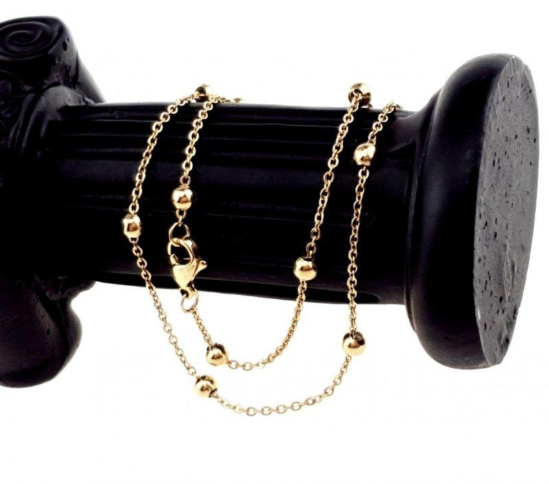 02017 Złoty łańcuszek 39+4 1mm stal chirurgiczna