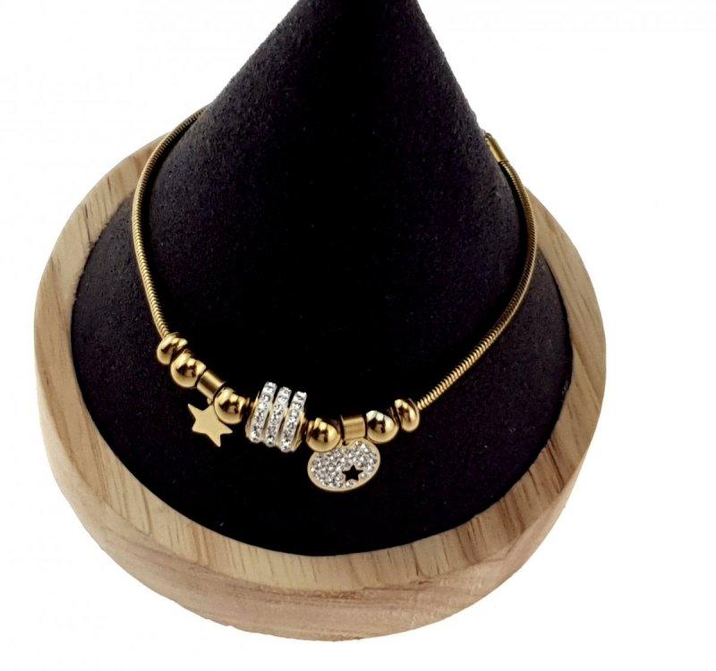 1085 Bransoletka złota celebrytka stal chirurgiczna