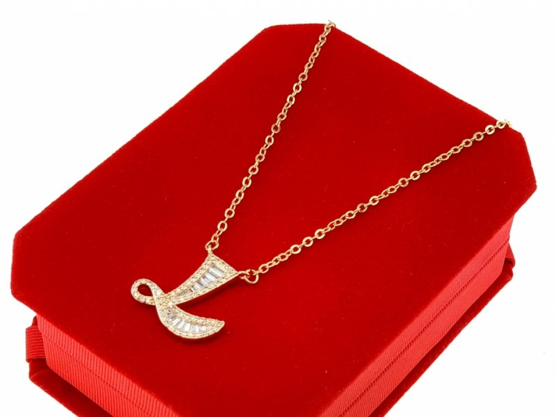 394 Złoty łańcuszek celebrytka literka L naszyjnik pozłacany