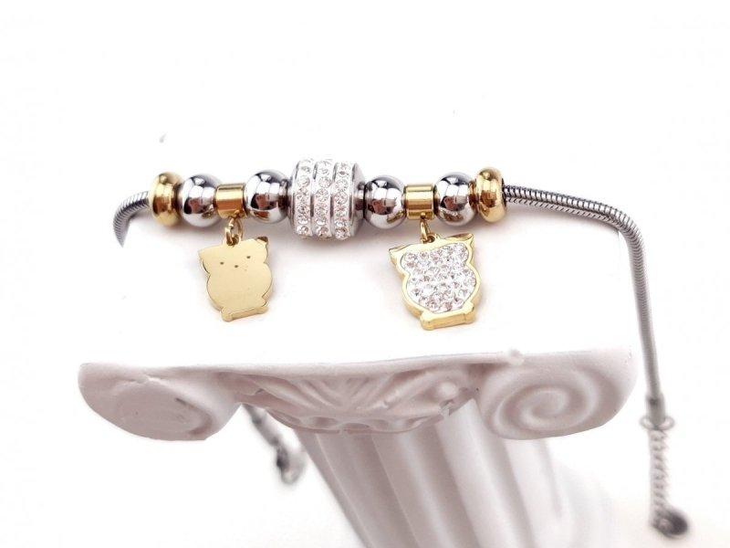 3429 Bransoletka srebrno złota celebrytka stal chirurgiczna Blueberry