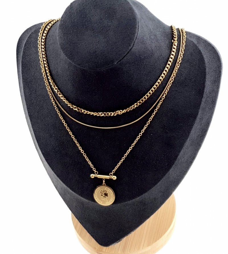 1375 Złoty łańcuszek celebrytka naszyjnik stal chirurgiczna