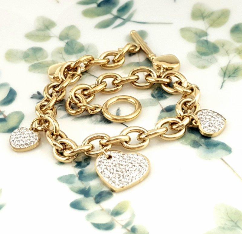 1088 Bransoletka złota celebrytka 18cm stal chirurgiczna
