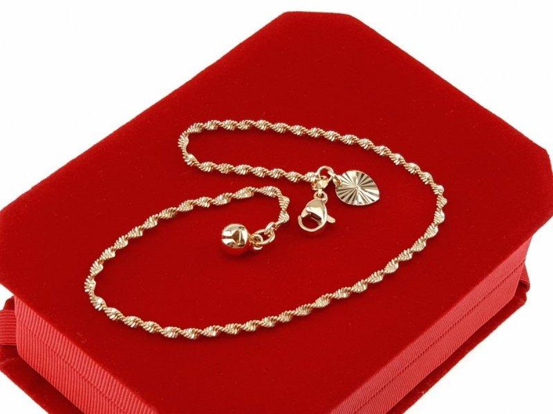 345 Bransoletka złota na nogę pozłacana 18k Xuping