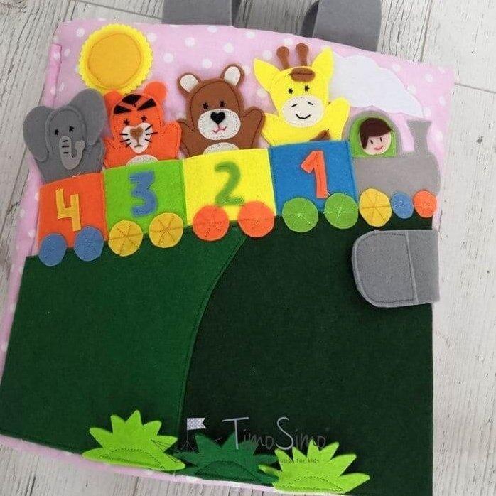 książeczka sensoryczna dla dziecka 1+ Kolejka Safari
