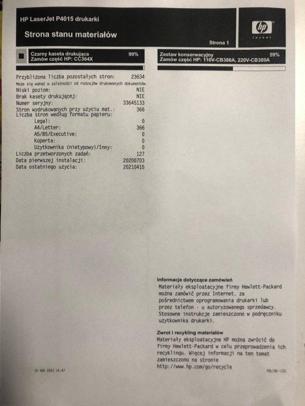 Oryginalny toner HP-364X  64X do HP LJ P4015 CC364X