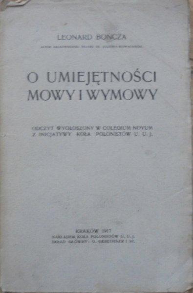 Leonard Bończa • O umiejętności mowy i wymowy [1917]