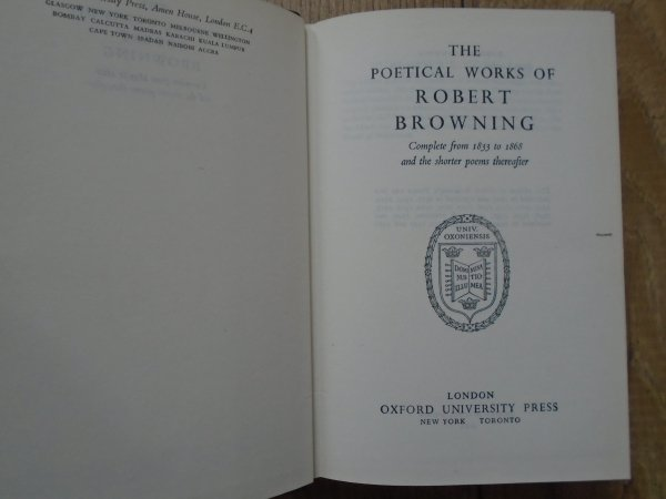 The Poems of Robert Browning • Compete from 1833 to 1868 and the Shorter Poems Thereafter