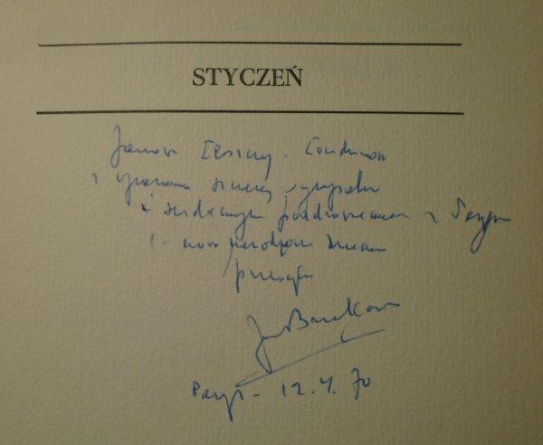 Jan Brzękowski • Styczeń [dedykacja autorska]