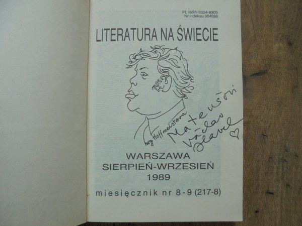 Literatura na świecie 8-9/1989 • Vaclav Havel [dedykacja autorska]