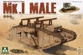 Takom 2031 WWI Heavy Battle Tank Mk.I Male with Sponson Crane Trailer