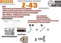 Wood Hunter W35045 Wood deck German Zerstorer Z-43 for Trumpeter 05323 1/350