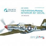 Quinta Studio QD32005 P-51D (Early) 3D-Printed & coloured Interior on decal paper (for Tamiya kit) 1/32