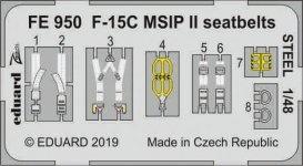 Eduard FE950 F-15C MSIP II seatbelts STEEL 1/48 GREAT WALL HOBBY