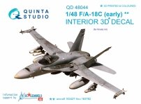 Quinta Studio QD48044 F/A-18C (early) 3D-Printed & coloured Interior on decal paper (for Kinetic) 1/48