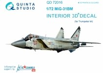 Quinta Studio QD72016 MiG-31BM 3D-Printed & coloured Interior on decal paper (for Trumpeter kit) 1/72