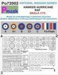 P-Mask PO72002 MASKI DO MALOWANIA OZNACZEŃ HAWKER HURRICANE RAF (1:72)