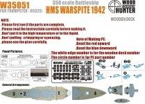 Wood Hunter W35051 Wood deck HMS Warspit for Trumpeter (1:350)