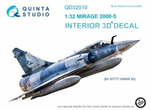 Quinta Studio QD32010 Mirage 2000-5 3D-Printed & coloured Interior on decal paper (for Kitty Hawk kit) 1/32